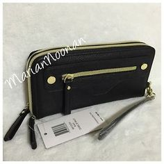NWT Steve Madden Large Black Double Zip Around Wallet With Wristlet #SteveMadden #Wallets #ForSale