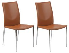 One Kings Lane - Gather Together - Saddle Max Side Chairs, Pair