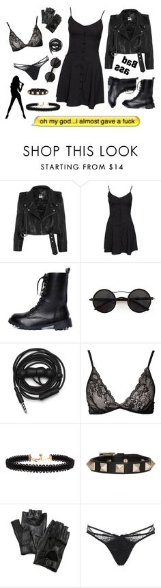"""Black fits everyone"" by karasito ❤ liked on Polyvore featuring Vetements, NLY Trend, Chicnova Fashion, Urbanears, Pieces, Vanessa Mooney, Valentino, Carolina Amato and Agent Provocateur"
