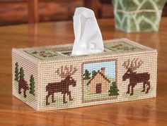 My favorite source for arts and crafts: Woodland Tissue Box Cover Plastic Canvas Kit Plastic Canvas Ornaments, Plastic Canvas Tissue Boxes, Plastic Canvas Christmas, Plastic Canvas Crafts, Plastic Craft, Free Plastic Canvas Patterns, Kleenex Box, Ppr, Canvas Designs