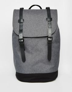 Image 1 ofASOS Backpack In Grey With Contrast Straps