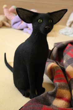 Hand Made Needle Felted BLACK ORIENTAL CAT, life size pet portrait via Etsy