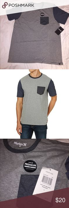 Hurley Color Block Pocket Tee Hurley pocket T-shirt, premium fabrics with a modern fit, 80% cotton 20% polyester Hurley Shirts Tees - Short Sleeve