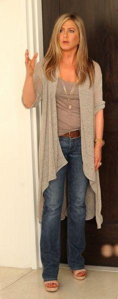 gray sweater + tank + amazing pendant necklace Jennifer Aniston