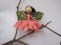 Ballerina Ornament Miniature Fairy Doll Flower by HarmonCraftStore