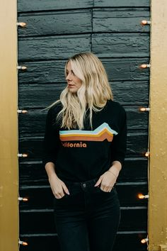 THE VERNON CALIFORNIA CREW LONG SLEEVE TOP IN BLACK// LONG SLEEVE SHIRT// WOMENS CLOTHING// WINTER OUTFITS