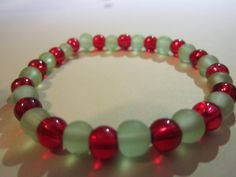 Christmas Red and Green Glass Bead by BeadazzlingButterfly on Etsy, $8.00