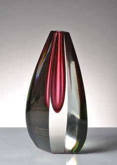 Jan Kotik, somerso vase, 1953-54, 21,5 cm Murano Glass Vase, Glass Ceramic, Art Of Glass, Vintage Vases, Venetian Glass, Glass House, Glass Design, Hand Blown Glass, Colored Glass