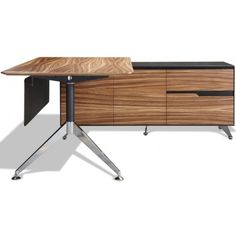 400 Collection Executive Desk with Right Return Cabinet in Zebrano Wood