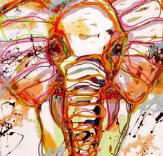 Vrolijke olifant schilderij kleur