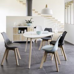 Scandinavian style white dining table people Spring by High Back Dining Chairs, Gray Dining Chairs, White Dining Table, Dining Set, Scandinavian Dining Table, Scandinavian Style, Restaurant Tables And Chairs, Dinner Chairs, Teal Accent Chair