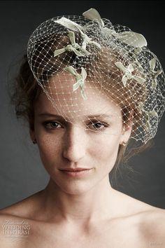 bhldn wedding etoile birdcage veil - James Coviello etoile birdcage veil topped with knotted velvet star bursts.