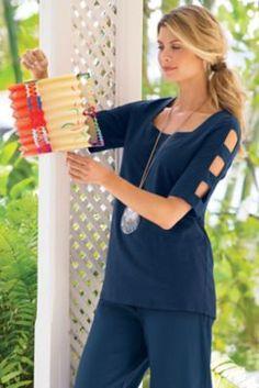 Open Arms Top - Arm Cutout Top, Cutout Arm Top | Soft Surroundings