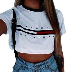 Fashion Womens Sexy Loose Pullover T Shirt Short Sleeve Cotton Tops Shirt Blouse Women's Summer Fashion, Look Fashion, Teen Fashion, Fashion Outfits, Womens Fashion, Fashion Shirts, Ladies Fashion, Tommy Hilfiger Mujer, Tommy Hilfiger Crop Top