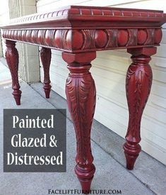 refinishing furniture Ornate sofa table in distressed Barn Red with Black Glaze. From Facelift Furnitures Red Refinished Furniture collection. Red Distressed Furniture, Red Painted Furniture, Refurbished Furniture, Paint Furniture, Repurposed Furniture, Table Furniture, Furniture Makeover, Home Furniture, Furniture Ideas