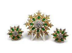 JOMAZ Brooch Set, Pin Earrings, Snowflake Brooch, Estate Jewelry, Joseph Mazer, Emerald Green, Rhinestone Brooch, Clip On Earrings, Brooch by VintageGemz on Etsy