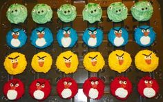 Angry Birds Cupcakes, Angry Birds Party.  Potential birthday cupcakes for Miles.
