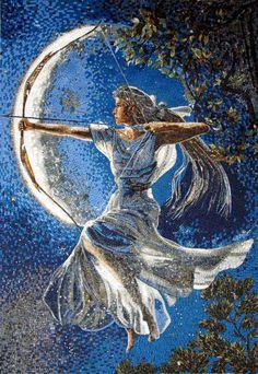 Goddess Diana Marble Mosaic Mural Tile Design Art Home by Mozaico Marble Mosaic, Mosaic Art, Mosaic Glass, Mosaic Tiles, Marble Floor, Stone Mosaic, Stained Glass, Potnia Theron, Dragons