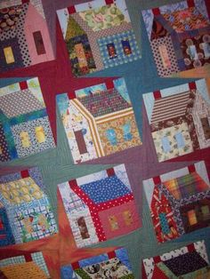 Country Quilt cute colorful home country decorate quilt sew hobby House Quilt Block, Quilt Blocks, Mug Rug Patterns, Quilt Patterns, Patchwork Patterns, Quilting Projects, Quilting Designs, Country Quilts, Tree Quilt
