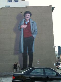 Three story tall Kurt Vonnegut mural in downtown Indianapolis