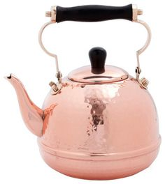 2 Qt. Solid Copper Hammered Tea Kettle w/Wood Handle traditional-coffee-makers-and-tea-kettles