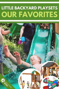 A great little buying guide to choosing a compact playset for your small outdoor space—or even for an indoor playroom. If your kiddos are stir-crazy indoors but your space outside is limited, this is your best one-stop shop for a little outdoor fun. #playsets #outdoorfun #smallspaces Toddler Outdoor Playset, Toddler Swing Set, Backyard Playset, Big Backyard, Wooden Playset, Wooden Playhouse, Indoor Playroom, Outdoor Play Equipment, Chalk Wall