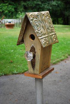 Funky doorknob  birdhouse. $99.00, via Etsy.