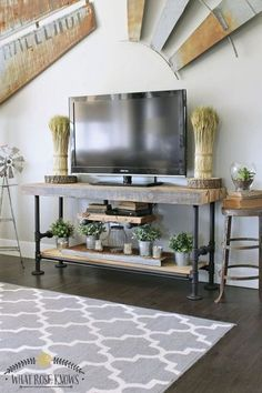 Are you looking for DIY TV Stand ideas? Why you not to try our list of simple DIY project that will cost you under 100 bucks.These free DIY TV stand project. Rustic Tv Console, Small Console Tables, Console Tv, Center Console, Tv Tables, Rustic Tv Stands, Unique Tv Stands, Simple Tv Stand, Cool Tv Stands