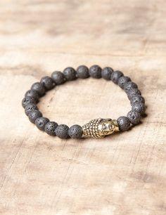 Lava Stone with Brass Buddha Bracelet #new