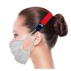 """Our 2-in-1 Lanyard is a fun, convenient, and relevant twist on a traditional lanyard. The 3/4"""" wide x 12"""" long comfort band features a belt-like adjustable black portion on each end that unfolds to secure the straps of a face mask. This unique mask accessory eliminates the discomfort of wearing a face mask around your ears all day! When not in use, the mask can hang around your neck."""