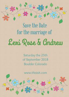 Rustic Floral Save the Date designed by Two Branching Out on Celebrations.com
