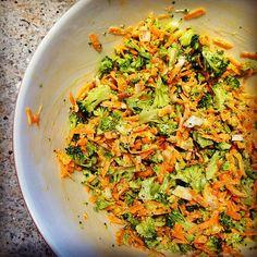 Broccoli slaw & garbanzo bean salad