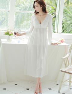 V-neck lace nightgown princess sexy home dress comfortable Like and Share  if you want fc29508d7