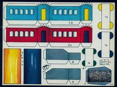 Cut out sheet, Train Car, German 6 by 8 inches