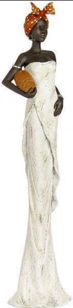 AFRICAN LADY WITH A BOWL UNDER ARM RESIN FIGURINE: Amazon.co.uk: Kitchen & Home