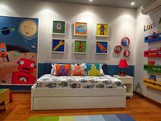 Robot Toddler room - contemporary - Kids - Other Metro - Leire Sol García Asch Toddler Boy Room Decor, Toddler Rooms, Boys Room Decor, Robot Bedroom, Little Boys Rooms, Kids Room Design, Bedroom Themes, Cool Rooms, Robot Theme