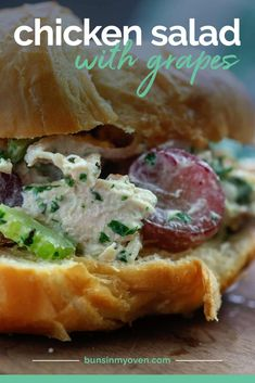 This chicken salad with grapes makes a great sandwich – we love it on a croissant, but it's good on sandwich bread too! The sweetness of the grapes pairs perfectly with the chicken and pecans! #chickensalad #summerrecipe Grape Recipes, Easy Salad Recipes, Chicken Salad Recipes, Summer Recipes, Salad Chicken, Casserole Recipes, Crockpot Recipes, Delicious Dinner Recipes, Yummy Food