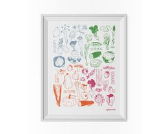 Inspired by UK seasonal produce, this giclée kitchen art print uses bright archival inks and is printed onto Hahnemuehle German Etching matt