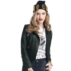 New Fashion Women Leather Jacket Slim Motorcycle Jacket Long Sleeve Zipper Jacket Coat Outwear