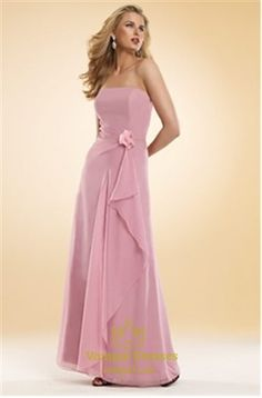 Picture of Sophisticated Floor Length A-Line Strapless Chiffon Bridesmaid Dresses