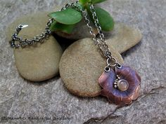 MOONFLOWER, COPPER, STERLING SILVER & PEACH MOONSTONE NECKLACE