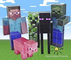 Que tal enfeitar sua festa Minecraft com os bonecos dos personagens? As crianças irão adorar!!! Os bonecos são feitos em papel alta gramatura.