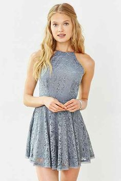 Kimchi Blue Lorraine High-Neck Fit + Flare Dress - Urban Outfitters