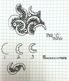 "Tangle Pattern: ""C"" Thing by Zentangle Art Doodle, Tangle Doodle, Tangle Art, Zentangle Drawings, Doodles Zentangles, Doodle Drawings, Doodle Patterns, Zentangle Patterns, Doodle Borders"
