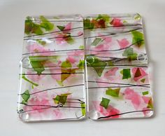 Tea in the Rose Garden Fused Glass Coasters by dortdesigns on Etsy