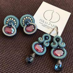Soutache Earrings, Clay Earrings, Quilling Jewelry, Jewelry Crafts, Brooches Handmade, Earrings Handmade, Shibori, I Love Jewelry, Jewelry Making