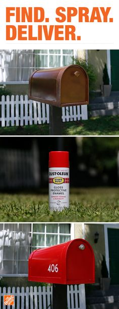 Rust-Oleum Professional - Rust-Oleum Painter's Touch - Rust-Oleum Stops Rust - Rust-Oleum Automotive - Rust-Oleum NeverWet - Rust-Oleum - Rust-Oleum Universal - Rust-Oleum Specialty - Rust-Oleum Modern Farmhouse - Spray Paint - Paint - The Home Depot Outdoor Projects, Home Projects, Diy Mailbox, Home Repairs, Diy Home Improvement, House Painting, Curb Appeal, Diy Home Decor, Backyard