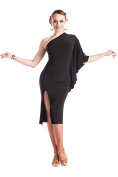 This one-shoulder dress is an excellent choice for your next dance event. Showcase your leg with a sexy front split. Top quality crepe fabric is stretchable, brings a comfortable fitting to skin and f