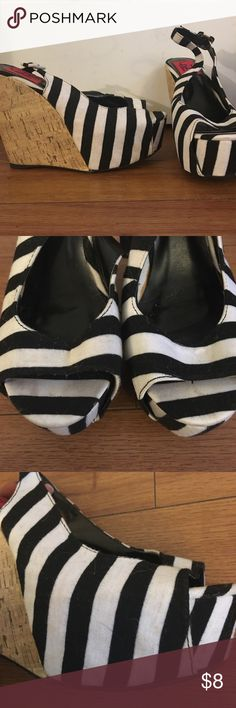 Striped wedges Super comfortable and easy to walk in. Worn three or 4 times. A few scuffs (see photos) Shoes Wedges
