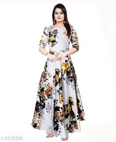 Gowns Trendy Women Stylish Gowns Fabric: Rayon Sleeve Length: Three-Quarter Sleeves Pattern: Printed Set Type: Single piece Stitch Type: Stitched Multipack: 1 Sizes:  M (Bust Size: 38 in, Length Size: 50 in)  L (Bust Size: 40 in, Length Size: 50 in)  XL (Bust Size: 42 in, Length Size: 50 in)   XXL (Bust Size: 44 in, Length Size: 50 in) Sizes Available: Free Size, M, L, XL, XXL, XXXL *Proof of Safe Delivery! Click to know on Safety Standards of Delivery Partners- https://ltl.sh/y_nZrAV3  Catalog Rating: ★4 (37923)  Catalog Name: Shardha Trendy Women Stylish long Gowns CatalogID_854863 C79-SC1289 Code: 863-5696324-